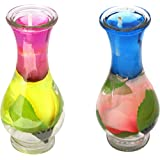 Indian Ocean Transparent Glass Pot Shape With Multi Color 2 Piece Set Candles IOC-048