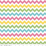 Chevrons Small Sized Multi Color Pastel Quilter's Cotton Fabric One Yard (0.9m) C340-03 GIRL