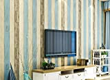 DIY 地中海風 木目 調 壁紙 貼付シールタイプ 簡単 はがせる 壁紙シール 高品質な不織布素材 防水 ベッドルーム リビングルーム 53cm×5m (スタイル1)