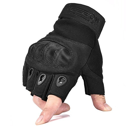 Reebow Gear Military Fingerless Hard Knuckle Tactical Gloves Half Finger for Army Gear Sport Driving Shooting Paintball Riding Motorcycle Black L (Gear Cycles compare prices)