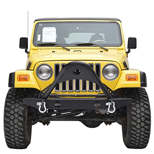 E-Autogrilles YJ TJ Black Textured Off Road Jeep Wrangler Front Bumper with Stinger and D-Rings