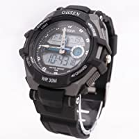 Black Ohsen Unisex Waterproof Digital LCD Alarm Date Mens Military Sport Analog Watch by Ohsen