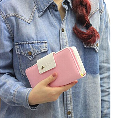 Chianrliu®uccelli frizione portafoglio PU pelle caso lungo chiusura pulsante carta borsa borsetta (rosa)