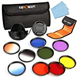 K&F Concept 52mm 9pcs Filter Kit Include Full Color Filter Set Orange Blue Yellow Red Purple Green + Graduated Filter Kit Orange Blue Grey for Nikon D5300 D5200 D5100 D3300 D3200 D3100 DSLR Cameras + Lens Hood + Center Pinch Lens Cap + Microfiber Lens Cl