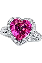 Star K 10mm Heart-Shape Created Pink Sapphire Engagement Wedding Ring