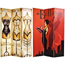 Oriental Furniture 6-Feet Tall Double Sided Mannequin and Singer Canvas Room Divider, 3 Panel