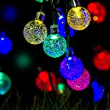 Y-ZONE Outdoor Solar Powered Crystal Ball String Lights 21ft 30 LED 8 Modes Multi Color Waterproof Decorative Christmas Fairy Globe Lighting for Indoor Party Garden Tree Fence Patio Wedding Decoration