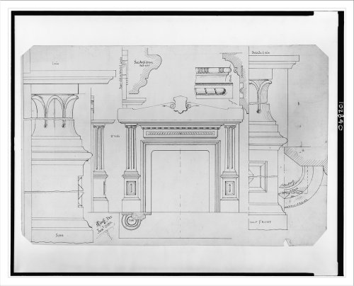 Historic print l fireplace mantel elevations plan for Half size set of plans