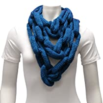 Luxury Divas Teal Blue Long Thick Knitted Chain Linked Scarf