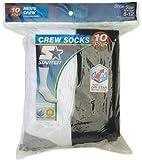 Starter 10-Pair Men's Crew Socks (5-Pair White + 5 Pair Black) 6-12