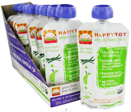 Nurture Inc Happy Baby Happy Tot Organic SuperFoods Stage 4 Green Beans Pears and Peas 4 22 oz 120 g