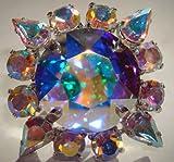 Huge, Dramatic Aurora Borealis Rhinestone Starburst Cocktail Ring with Swarovski Crystal Rhinestones.