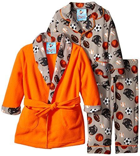 Baby Bunz Baby Boys' 3 Piece Sports Robe and Pajama Set, Orange, 24 Months