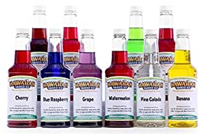 Hawaiian Shaved Ice 10 Flavor Pack of Snow Cone Syrup, 10 Pints