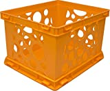 Storex Large Storage and Transport File Crate, 17.25 x 14.25 x 10.5 Inches, Neon Orange, Case of 3 (STX61577U03C)