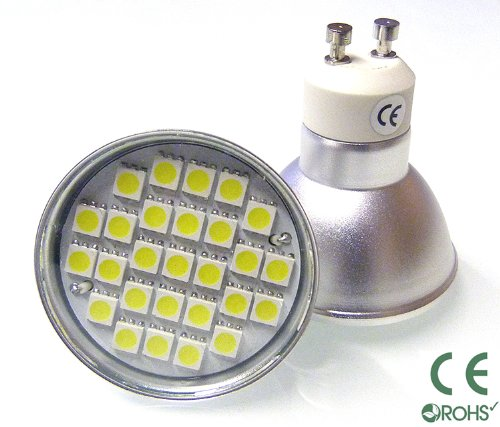 5 x GU10 LED BULBS 6W WITH 27 x 5050 SMD LED's IN WARM WHITE ** SUPER BRIGHT GU10 LED LIGHT BULBS - THE BRIGHTEST SMD BULBS AVAILABLE EMITTING 450 LUMENS - EXTREMELY BRIGHT AND IDEAL FOR REPLACING 50W - 60W HALOGEN BULBS **