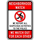ComplianceSigns Aluminum Security / Surveillance sign, Reflective 18 x 12 in. with Neighborhood Watch info in English, Red