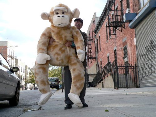 6-FEET-TALL GIANT STUFFED MONKEY APE CHIMP CHIMPANZEE BIG PLUSH FUN - AMERICAN MADE IN THE USA AMERICA - COLOR: MINK