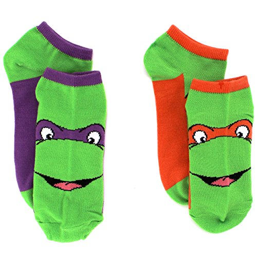 TMNT Teenage Mutant Ninja Turtles Womens 2 pk Ankle Socks (9-11 (Shoe: 4-10), Don & Mike)