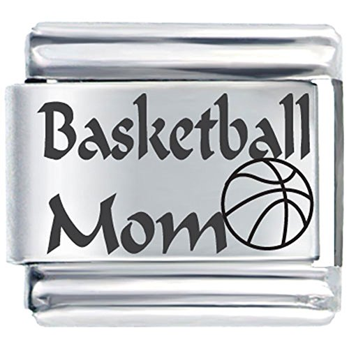 I Love Basketball And Mom Italian Charm Laser Italian Link Charm Bracelet (Italian Charm Bracelet Mom compare prices)