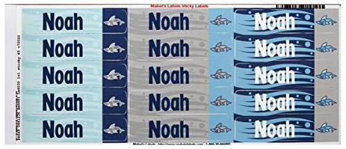 Mabel'S Labels 40845087 Peel And Stick Personalized Labels With The Name Noah And Shark Icon, 45-Count