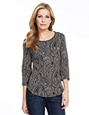 M&S Collection Jacquard Paisley T-Shirt