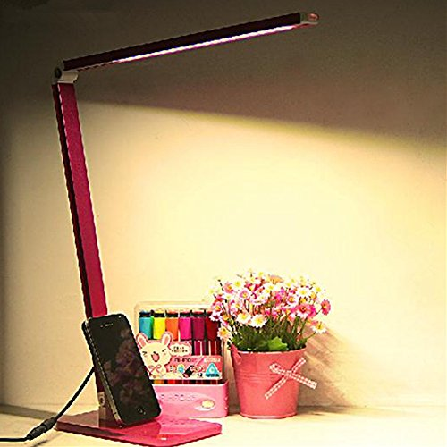 Hitop Led Lights 48 Led Lamp Beads High Brightness Table Lamp,Tempered Glass Base,Folding Touch Switch Stepless Dimming Desk Lamps 6 Watt,Pink front-28651