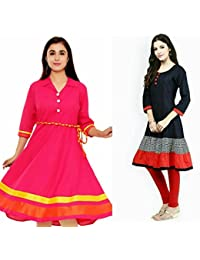 Sky Global Women's Regular Wear Kurti (Combo Pack Of 2)(SKY_KC_6007)(SKY_7001_Pink)(SKY_Kurti_7026)