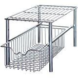 DecoBros Stackable Under Sink Cabinet Sliding Basket Organizer Drawer (Chrome)