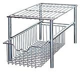 DecoBros Stackable Under Sink Cabinet Sliding Basket Organizer Drawer, Chrome