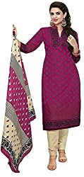 SP Marketplex Women's Cotton Unstitched Dress Materials (Spmsg308, Orange And Red)