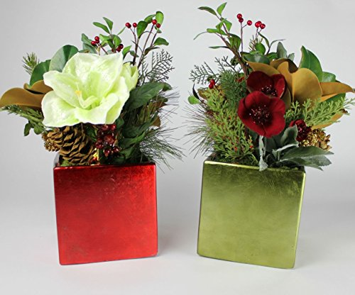 """18 """" Battery Operated Lighted Holiday Arrangements; Set Of Two In G/R (Sr)"""