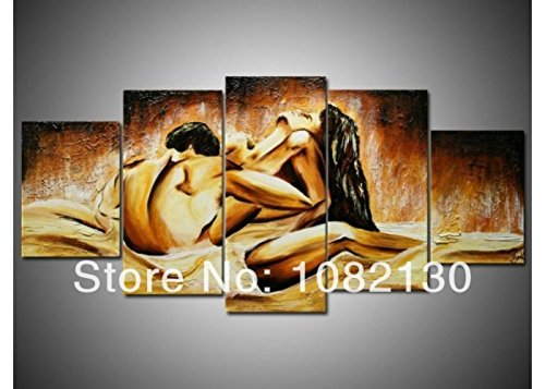 Hand Painted Wall Art 5 Piece Modern Abstract Oil Paintings On Canvas Sexy Naked Lover Nude Pictures For Living Room Home Decor
