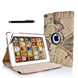 N9-Online Apple Retro Map World Design 3 PU Leather Case Cover with Free Screen Protector and Stylus Pen for iPad 4, iPad 3, iPad 2