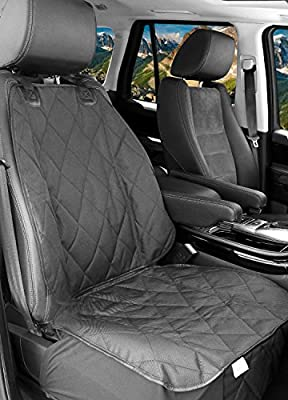 BarksBar Pet Front Seat Cover for Cars - Black, WaterProof & Nonslip Backing