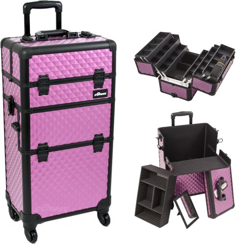 14.5 Inch Purple Diamond Textured Interchangable Series Cosmetic Train Case Beauty Supply Holder With Four 360 Degree Rotating Wheels Make Up Travel Organizer front-933996
