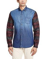 Locomotive Men's Casual Shirt (15110001455770_LMSH010356_X-Large_Blue Denim)
