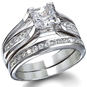 Sterling Silver CZ Princess Cut Wedding Ring Set (9) from MyGowns