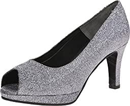Rose Petals Women\'s Prom Pewter Sparkle Pu 1 Pump 10 M (B)