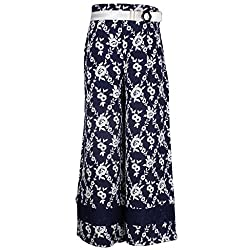 Cutecumber Girls Polyester Floral Navy Palazzo