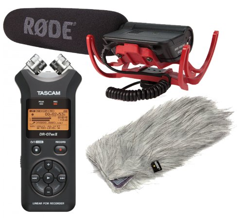 Rode Condenser Shotgun Video Mic With Rycote And Rode Deadcat Wind Sheildwith Tascam Dr-07Mkii Portable Recorder