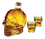 3 Piece - 33 Ounce Glass Skull Face Decanter And Shot Set