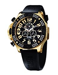 Offshore Men's OFF009PRG Tornade Yellow Gold and Black PVD CZ Chronograph Watch