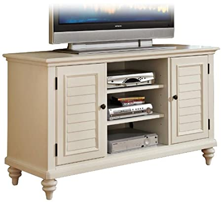 Home Style 5543-10 Bermuda TV Credenza Stand, Brushed White Finish