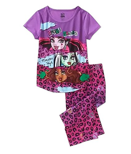 Monster High Ghoul Friends Girl's Leopard Print Pajamas