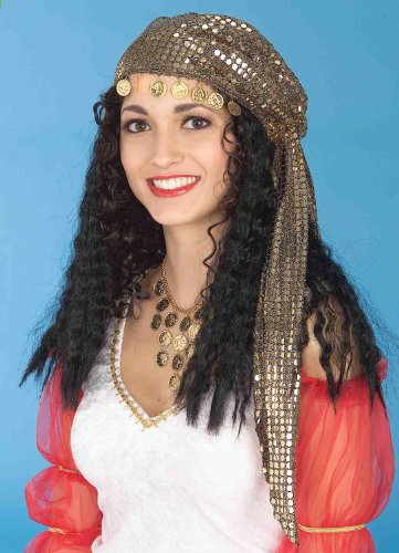 Gold Gypsy Headscarf And Black Wig Costume Accessory