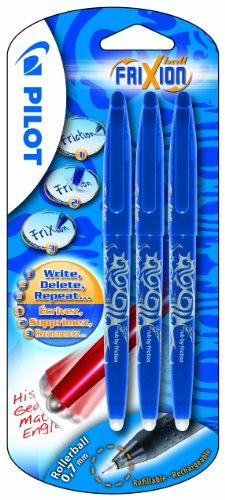 Pilot FriXion - Juego de bolígrafos roller borrables (3 unidades, 0,7 mm, tinta de gel azul), color azul