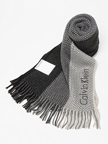 (カルバンクライン) Calvin Klein ロゴ刺繍 ストライプ柄 フリンジ マフラー BKJ/WGY 【CK77302】 ブラック [並行輸入品]