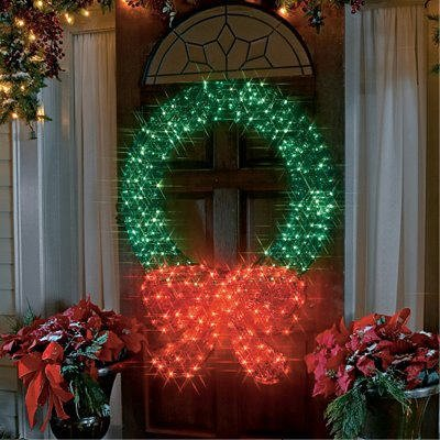 48 lighted crystal 3 d outdoor christmas wreath decoration. Black Bedroom Furniture Sets. Home Design Ideas