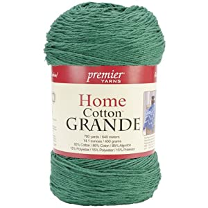 Premier Yarns Solid Home Cotton Grande Yarn, Christmas Green